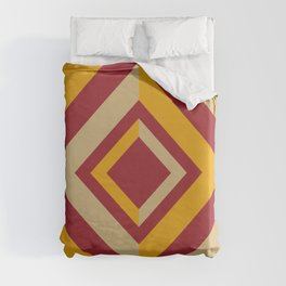 Red Orange Beige Geometric Diamond Shape Design 2021 Color of the Year Satin Paprika & Accent Shades Duvet Cover