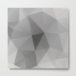 Grey Geometric Polygon Pattern Metal Print