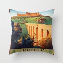 Vintage Spoleto Italy Travel Poster Throw Pillow