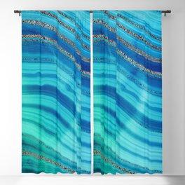 Gold Indigo Blue  Ocean Marble Waves Blackout Curtain