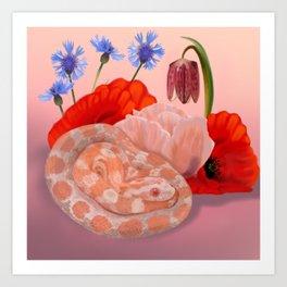 Snek and Poppies Art Print