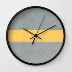 gray and yellow classic Wall Clock