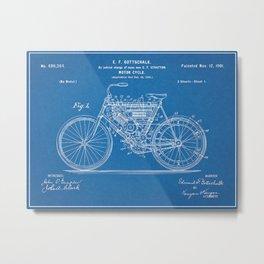 1901 Stratton Gottschalk Motorcycle Patent Blueprint Metal Print