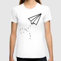 plane T-shirts featuring Paper Plane by Leah Flores