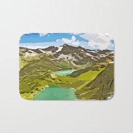 alpine mountain view vector art Bath Mat