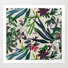 Tropical leaf pattern II Art Print