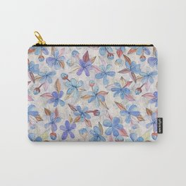 Purple Painted Floral Pattern Carry-All Pouch