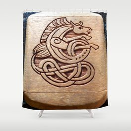 Horse carved in wood Shower Curtain