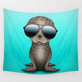 Cute Baby Sea Lion Wearing Sunglasses Wall Tapestry