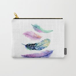 Watercolor feathers painting Carry-All Pouch