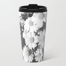 Black and White Flowers Travel Mug