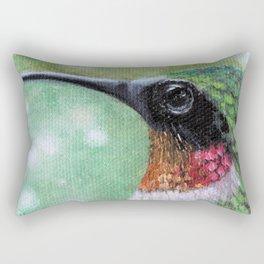 Ruby Throated Hummingbird Original Art Rectangular Pillow