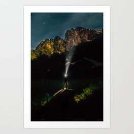 Starry Mountain Explorer Art Print