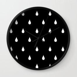 Black and white rain drops Wall Clock