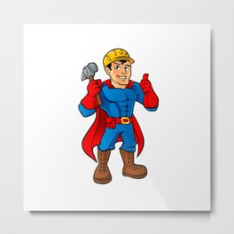 Superhero handyman guy. Metal Print