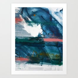Breathe Through It: a vibrant abstract painting in blue pink and various colors by Alyssa Hamilton Art Print