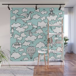 Doodle Clouds Pattern Wall Mural