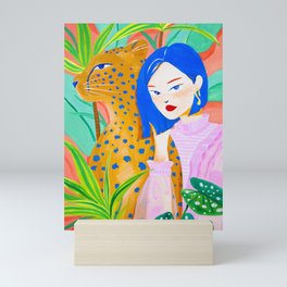 Short Hair Girl and Leopard in Garden Mini Art Print