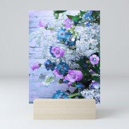 Flowers, Pink, Lilac, Teal Mini Art Print