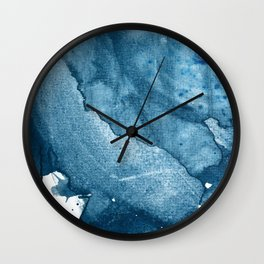 4 am Thoughts [5]: a minimal abstract painting in blue by Alyssa Hamilton Art Wall Clock
