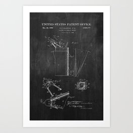 Beehive Smoker Patent with Bees Collage Art Print