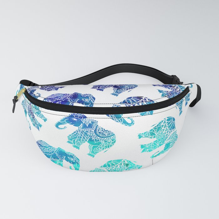 Boho turquoise blue ombre watercolor hand drawn mandala elephants pattern Fanny Pack