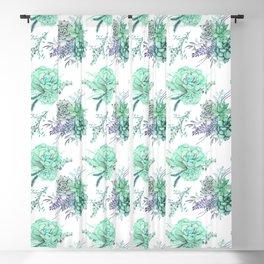 Succulents Mint Green Lavender Lilac Violet Pattern Blackout Curtain