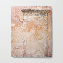 Ancient Marble Doorframe and Plaster, Crete, Greece Metal Print