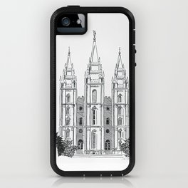 Salt Lake LDS Temple Ink Drawing iPhone Case