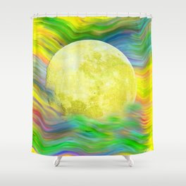MOON VISIONS AT SEA OIL PAINTING Shower Curtain