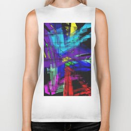 Abstract, geometrical, dimensional, colored. Biker Tank
