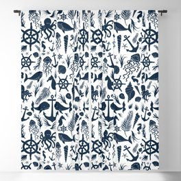 Nautical Silhouettes (Navy Blue on White) Blackout Curtain