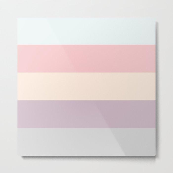 easter spring pastel color eggshell blue dusty rose blush pink stripe Metal Print
