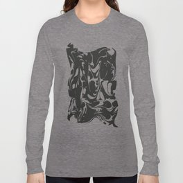 Black and White Marble Surface Design Long Sleeve T-shirt