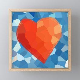 Red Heart on Aqua Framed Mini Art Print