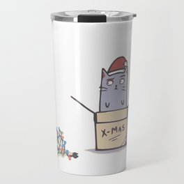 Confused Christmas Cat Travel Mug