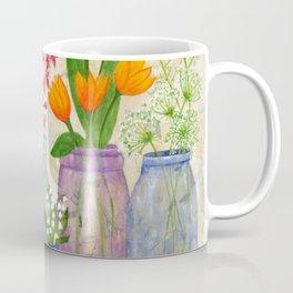 Springs Flowers in Old Jars Coffee Mug