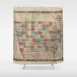 Colton's township map of the State of Iowa (1851) Shower Curtain