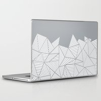psych Laptop & iPad Skins featuring Abstract Mountain Grey by Project M