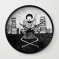 bookworm Wall Clocks featuring Bookworm by kate gabrielle