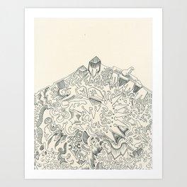 Psychedelic Bunny Mountain Art Print