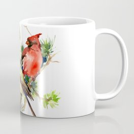 Cardinal Birds on Pine Tree Coffee Mug