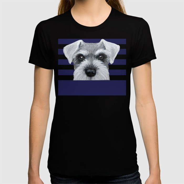 Schnauzer Grey&white, Dog illustration original painting print T-shirt