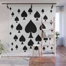 LOTS OF DECORATIVE BLACK SPADES CASINO ART Wall Mural