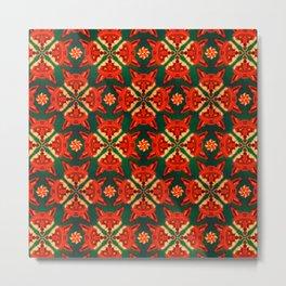 Fox Cross geometric pattern Metal Print