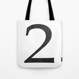 Number 2 (Black) Tote Bag