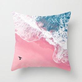 Pink Beach Throw Pillow