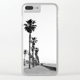 Playa de Valencia | Black and white photograph of the boulevard & beach | travel art Clear iPhone Case