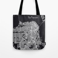 san francisco map Tote Bags featuring San Francisco Map by chiams