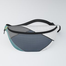 Grey-blue-black pattern . Abstraction . Patchwork . Fanny Pack